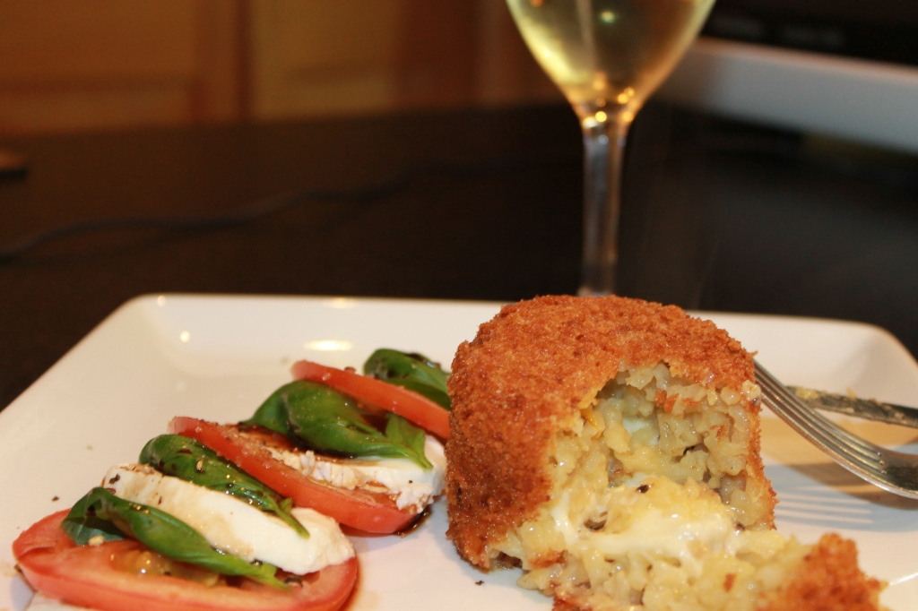 Arancini Stacks with Caprese Salad